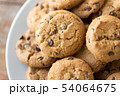 close up of oatmeal cookies on plate 54064675