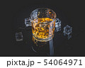 Whisky, whiskey or bourbon with ice 54064971