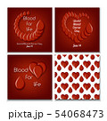 World blood donation day set of poster templates and seamless pattern with blood drops and heart. 54068473
