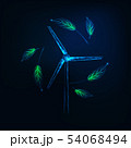 Futuristic sustainable energy concept with glowing low poly wind turbine generator and green leaves 54068494