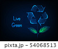 Futuristic ecological banner with flower made of glowing low polygonal recycle sign and green leaves 54068513