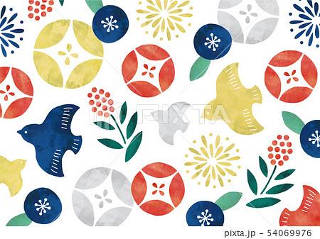 レトロポップな和柄水彩鳥と花 54069976