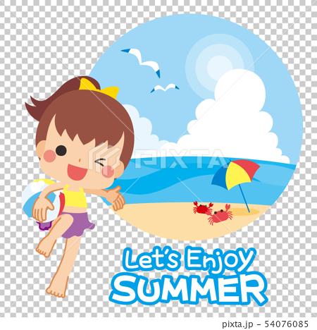 泳装的女孩享受夏天的 54076085