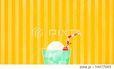 背景-夏-クリームソーダ-イエロー-ストライプ 54077065