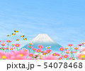 チョウ(イメージ) コスモス 秋桜 富士山 コピースペース 54078468