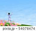 チョウ(イメージ) コスモス 秋桜 女の子 コピースペース 54078474