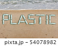 Bottles on the beach form the inscription PLASTIC 54078982