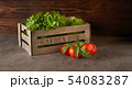 Fresh herbs in wooden box with tomatoes 54083287