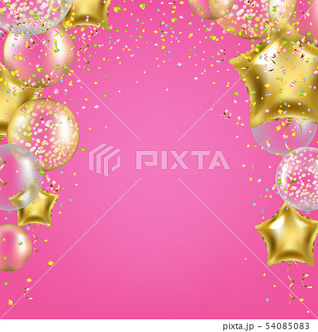 Birthday Banner With Golden Star Balloons 54085083