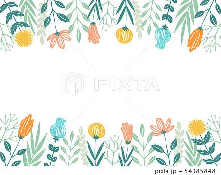 手書き花フレームのイラスト素材