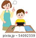 ゲームする子供に注意するお母さん 54092339