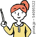 女性 ポニーテール 主婦 ポーズ リアクション 上半身 イラスト 54095522