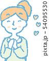女性 ポニーテール 主婦 ポーズ リアクション 上半身 イラスト 54095530