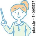 女性 ポニーテール 主婦 ポーズ リアクション 上半身 イラスト 54095537