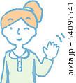女性 ポニーテール 主婦 ポーズ リアクション 上半身 イラスト 54095541