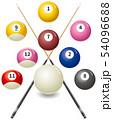 ビリヤード球とキューのイメージイラスト 54096688