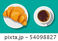 Coffee cup and french croissant. 54098827