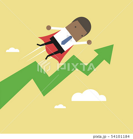 Super African businessman with growing graph. 54101184
