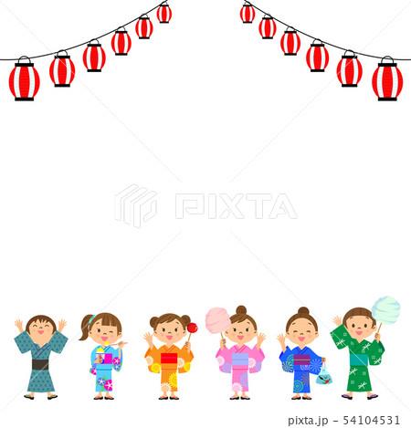 夏祭り 子供たち 提灯 54104531