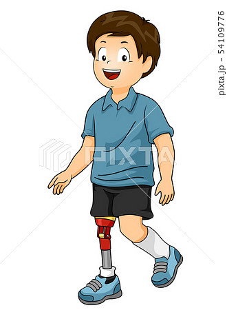 Kid Boy Prosthetic Leg Illustration 54109776