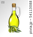 Olive branch and olive oil bottle isolated on transparent. Photo-realistic vector, 3d 54113088