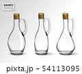 Empty glass bottles collection, isolated on transparent background. Photo-realistic vector, 3d 54113095
