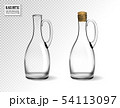 Empty glass bottles collection, isolated on transparent background. Photo-realistic vector, 3d 54113097