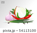 Garlic, pepper and onion vegetables with parsley spice isolated on white background. Photo-realistic 54113100