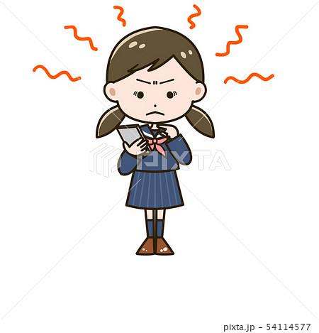 スマートフォンに夢中になる女の子 ポーズ イラスト 54114577