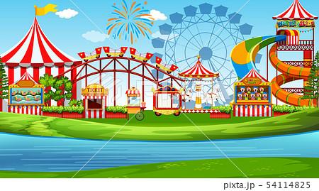 A fun amusement park scene 54114825