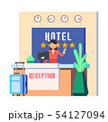 Hotel reception with woman and luggage bag 54127094