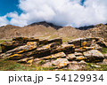 unusual stone formations with colored patches of lichen and moss on the background of mountains 54129934