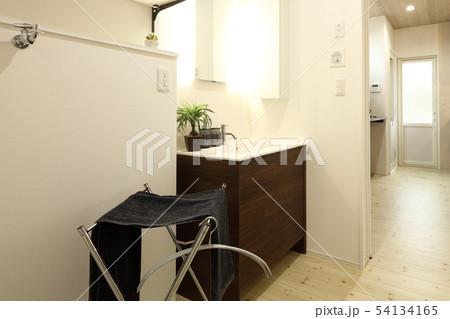 デザイナーズハウス お洒落な洗面脱衣室と浴室 54134165