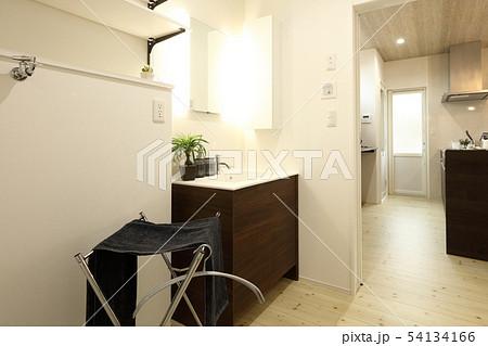 デザイナーズハウス お洒落な洗面脱衣室と浴室 54134166
