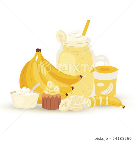 Sweet banana smoothie and milkshake illustration isolated on white background. Jar with banana 54135260