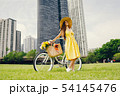 pretty girl with bicycle 54145476