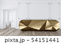 Gold reception table in classic white color interior with moldings and wooden floor. 54151441