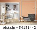 Modern classic peach beige interior with lounge chair, armchair, kitchen, dining table 54151442