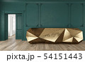 Gold reception table in classic green color interior with moldings and wooden floor. 54151443
