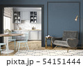 Modern classic blue gray interior with lounge chair, armchair, kitchen, dining table. 54151444