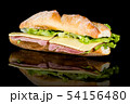 HAM AND CHEESE BAGUETTE with reflection isolated 54156480
