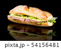 HAM AND CHEESE BAGUETTE with reflection isolated 54156481