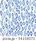 Seamless tie-dyed fabric blue watercolor on white pattern. Hand painted ikat ink style fabric print 54158372