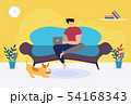 Man with Laptop Sitting on Sofa at Home Cartoon 54168343
