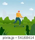 Flat Cartoon Man Riding on Kick Scooter in Park 54168414