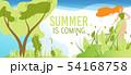 Summer is Coming Greeting Cartoon Flat Banner 54168758