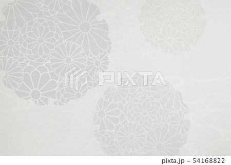 喪中-はがき-雪輪-菊-背景素材-和紙 54168822