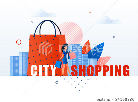 Woman with Shopping Bags on Cityscape Background. 54168830