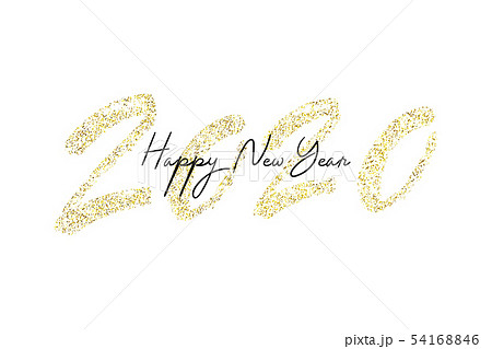 Happy New Year 2020 with golden glitter. 54168846