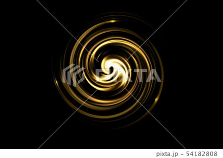 Abstract golden circle with light spiral on black 54182808
